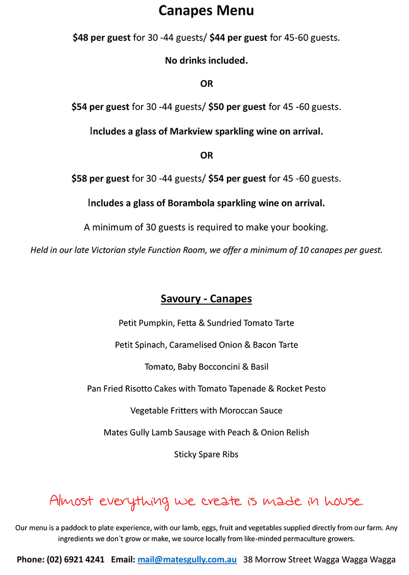 Image of Mates Gully Cafe Canapes Menu