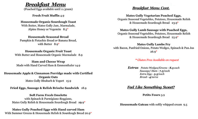 Image of Mates Gully Cafe Breakfast Menu