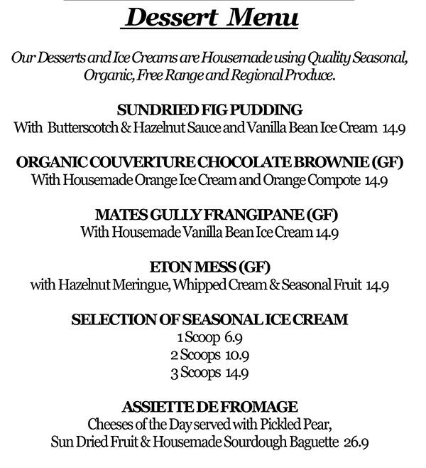 Image of Mates Gully Cafe Dessert Menu