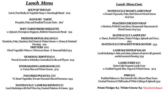 Image of Mates Gully Cafe Lunch Menu